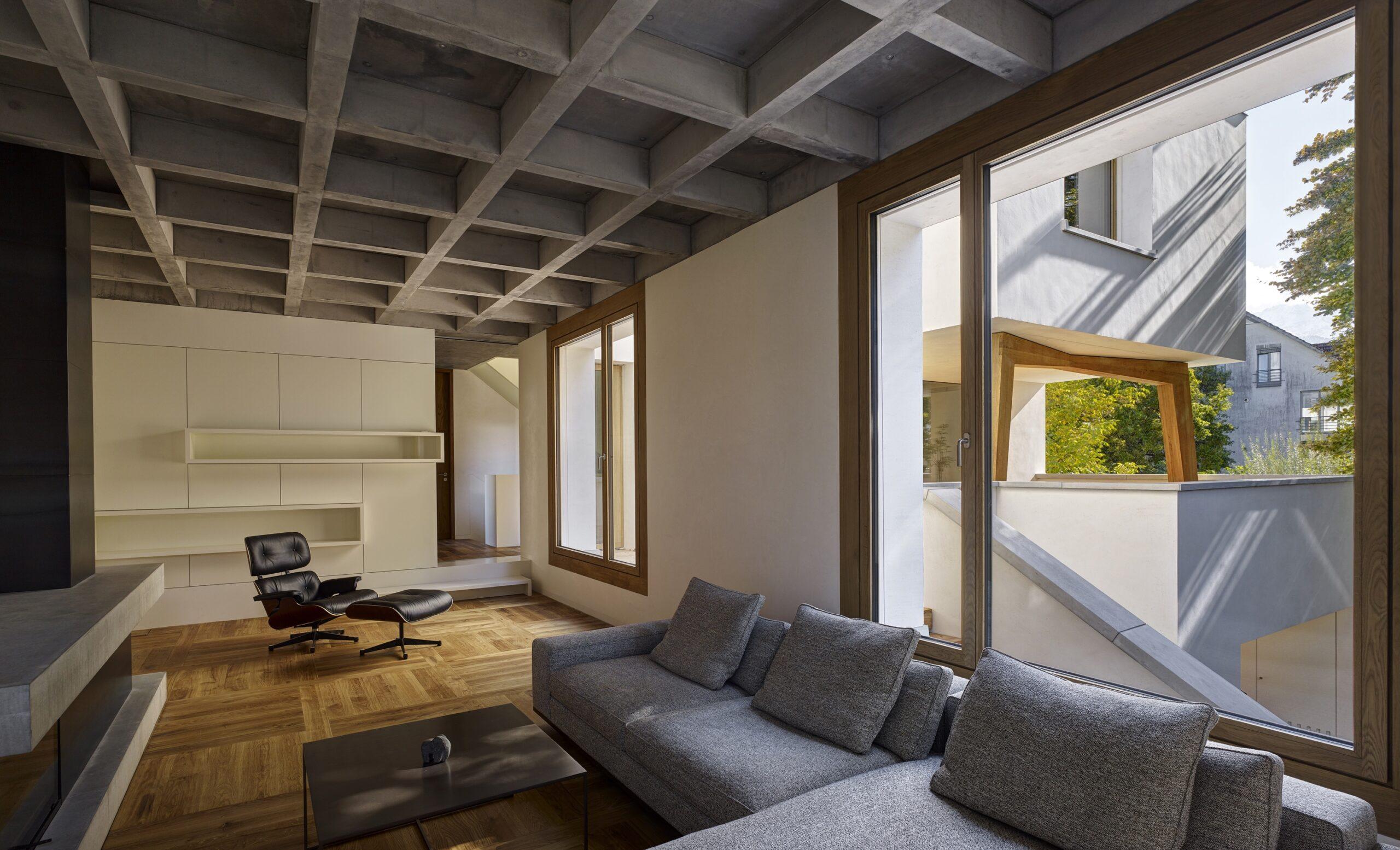Haus Holdergasse, Wohnzimmer, Kamin, BE Architekten, Olex, Marc Lins