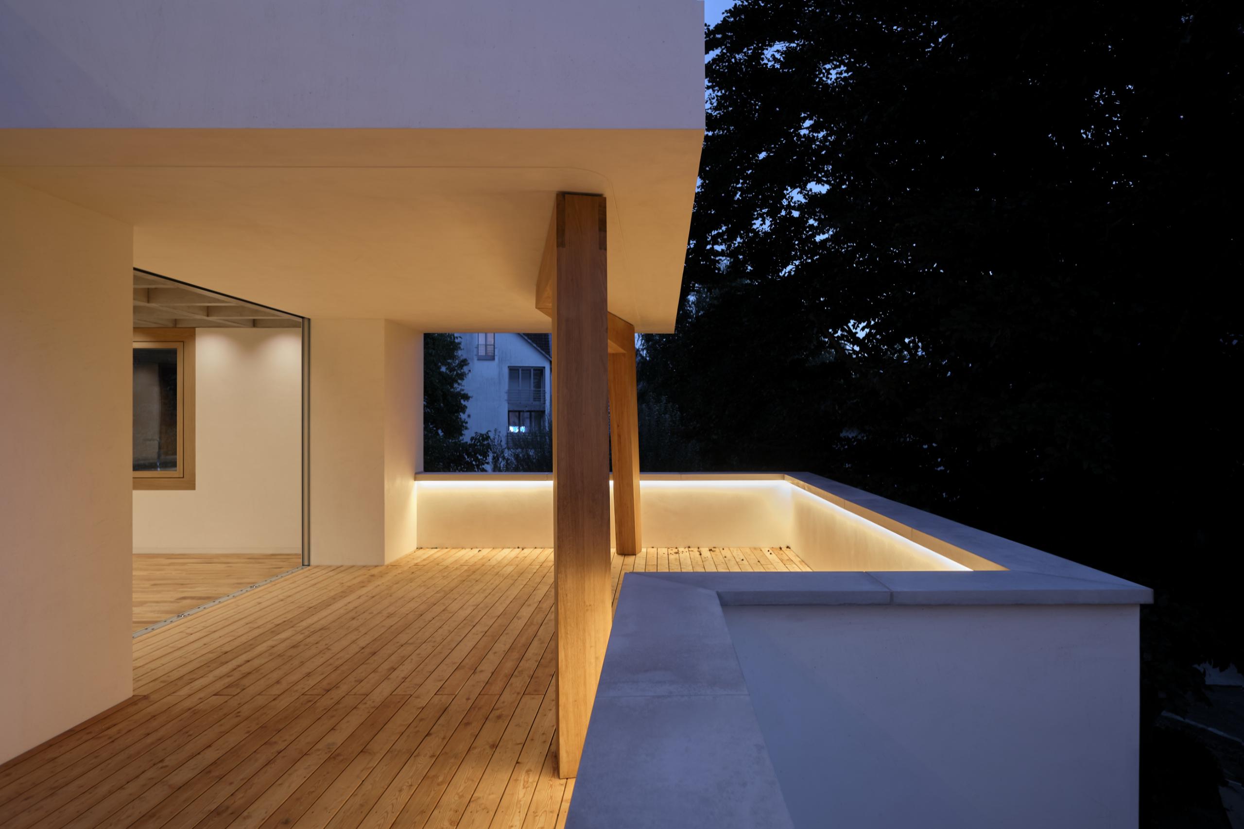 Haus Holdergasse, Terrasse bei Nacht, BE Architekten, Olex, Oliver Lins